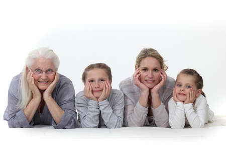 mature old generation: Three generations of women  Stock Photo