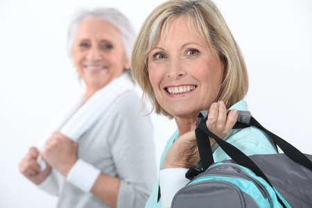 active retirement: mature women at fitness center Stock Photo