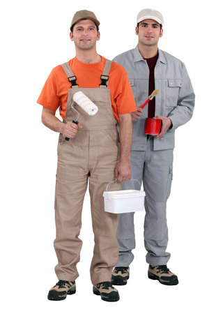 jumpsuite: two house painters Stock Photo