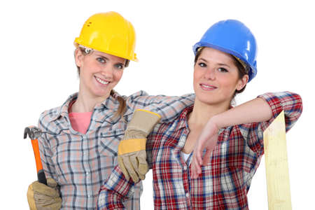 supported: Female carpenters Stock Photo