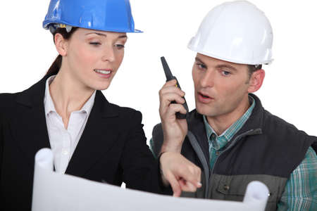 walkie: Architect  with a walkie talkie Stock Photo