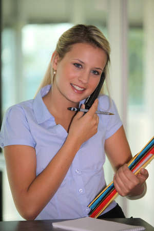 Secretary multitasking Stock Photo - 16669466