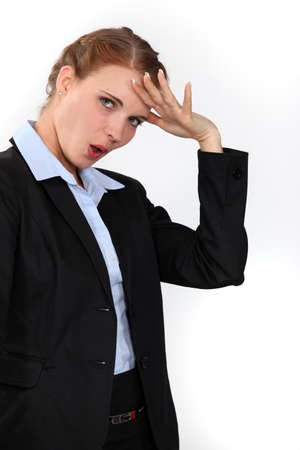 relieved: Relieved businesswoman Stock Photo