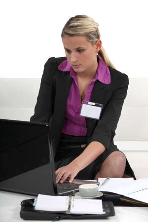 Seated Woman with computer Stock Photo - 16670389