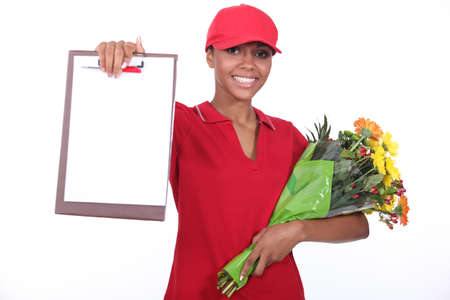 A woman delivering flowers  photo