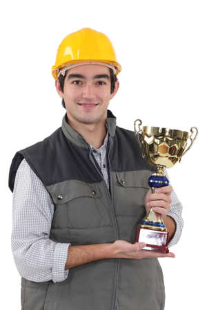 Construction worker with an award Stock Photo - 16669624