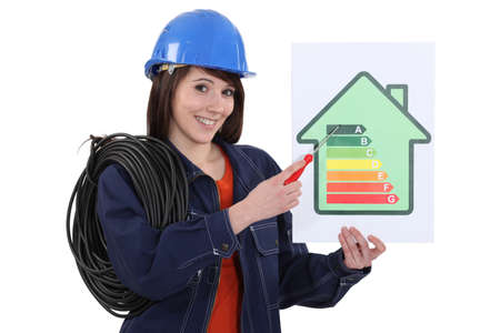 house energy: Woman pointing at energy rating poster Stock Photo