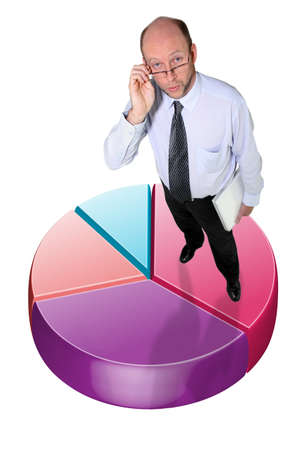 share market: Businessman standing on a graphic pie chart