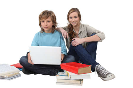 Teens studying photo