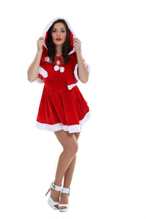 Woman in sexy Christmas dress photo