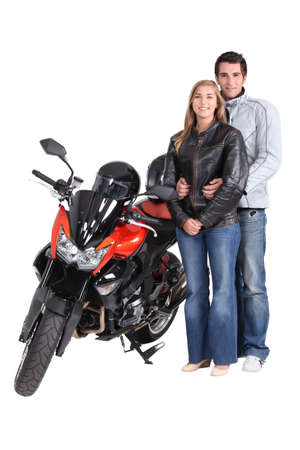 A Couple with motorbike photo