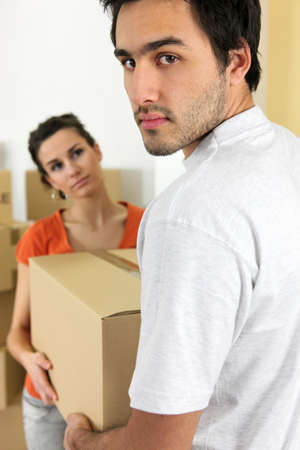 Couple moving cartons photo