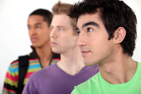 sideway: Three male student in line