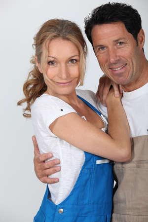 Couple wearing work overalls Stock Photo - 16669404