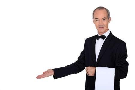 trays: Grey haired waiter