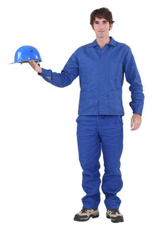craftsman holding his helmet Stock Photo - 16670808
