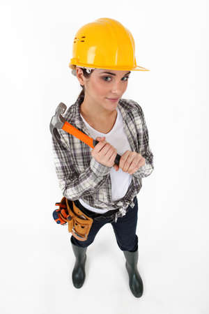 Woman with hammer Stock Photo - 16670410