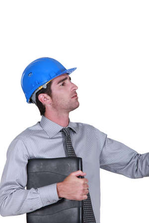 Male architect with laptop Stock Photo - 16670418