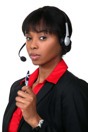 adaptable: Woman with headphones and microphone Stock Photo