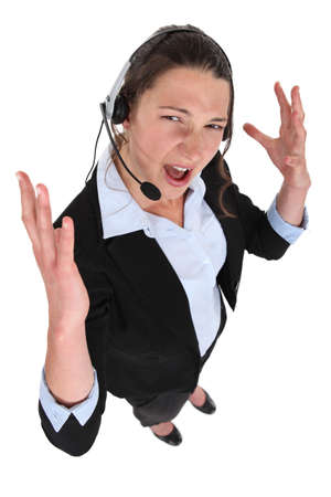 over worked: Stressed call-center worker