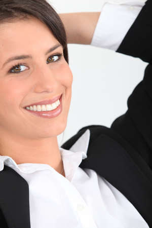 head rest: Businesswoman relaxing Stock Photo