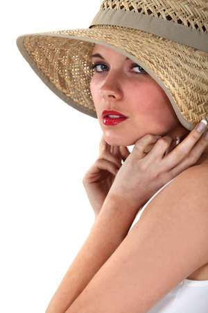 nude lady: Woman posing in straw hat