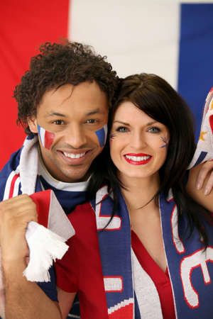 supporter: Couple of French soccer fans