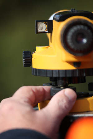 global positioning system: Close-up of land surveying equipment