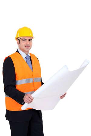 engineer's: Architect wearing safety jacket Stock Photo