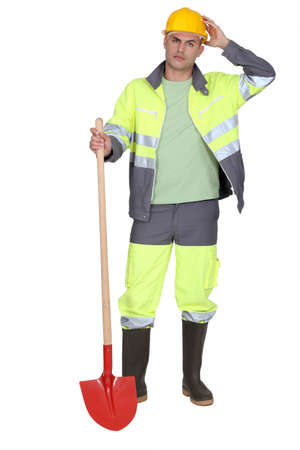Construction worker with a shovel Stock Photo - 16716466