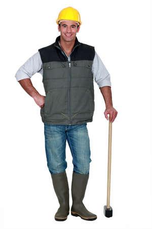 presslufthammer: Mann mit einem Vorschlaghammer Lizenzfreie Bilder