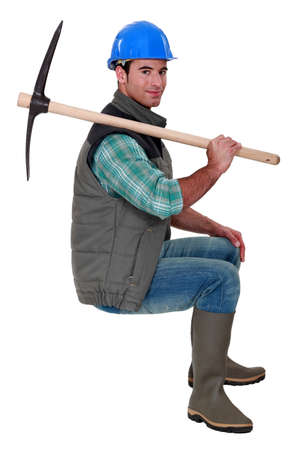 pickaxe: Building worker with pickaxe