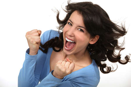 euphoric: Jubilant woman Stock Photo