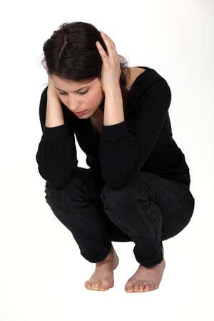 alone sad: Grieved woman