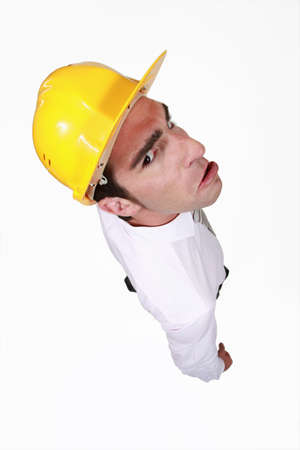 Grumpy young architect Stock Photo - 16716407