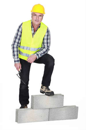 stonemasonry: Portrait of a stonemason Stock Photo