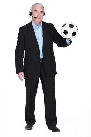 commentator: Football commentator Stock Photo