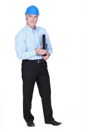 Businessman wearing a hardhat Stock Photo - 16716411