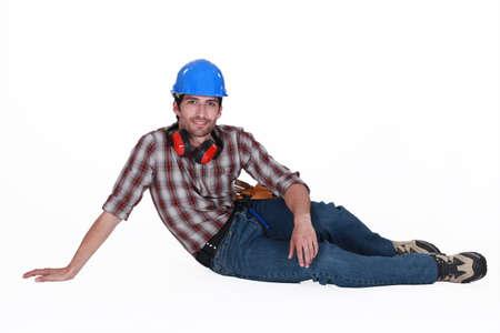 tradesperson: Tradesman taking a break Stock Photo