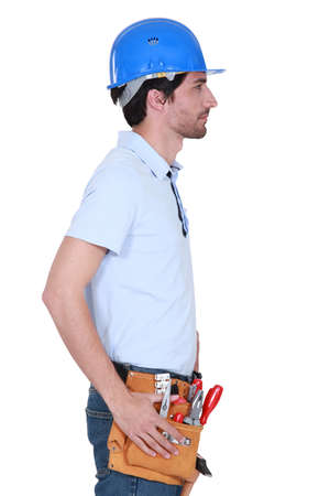 Side profile of a tradesman photo