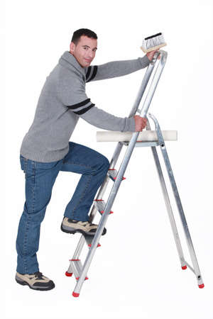 Paperhanger with ladder photo