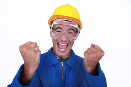 An ecstatic construction worker. Stock Photo - 16779302