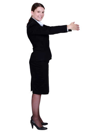sideway: Corporate woman. Stock Photo
