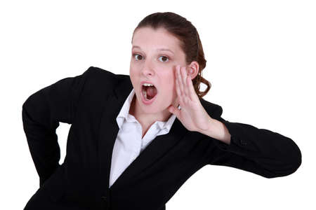 back straight: Woman screaming Stock Photo