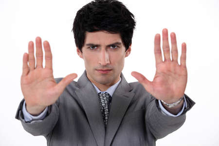 resist: Man with a gesture of denial