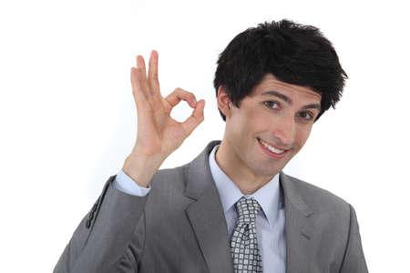 businessman making an OK sign Stock Photo - 16808281