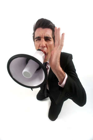 Businessman shouting through megaphone Stock Photo - 16805766