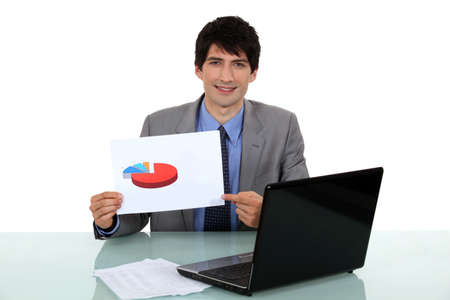 Businessman displaying the results of his market research photo