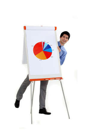 financial controller: attractive businessman making presentation with pie chart