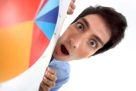 panicked: Man shocked with mouth wide open
